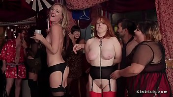 Babes gagged fingered and fucked at bdsm party