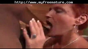 Redhead Mature Mommy Sucks and Fucks Black Cock