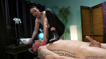 Masseuse with strap on anal fucks guy
