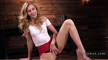 Small tittied blonde fucking machine preview image