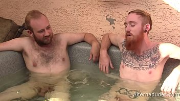 Gay fiery red pubic hair - Red-haired tatted guy gets blowjob from hairy cub