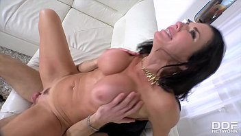 Squirting Milf Veronica Avluv gets her shaved pussy fucked on the couch