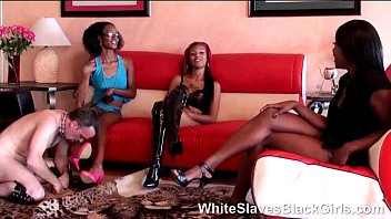 3 ebony babes and their new slave dog