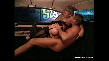 Vintage tether car Busty blond lucy gets anal sex in the pink cadillac