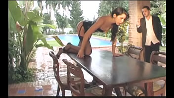 Gorgeous European Brunette Babe In Sexual Black Lingerie Diana Doll Is Get Banged By Physically Fit British Gentleman On The Wooden Table On The Sun Parlour