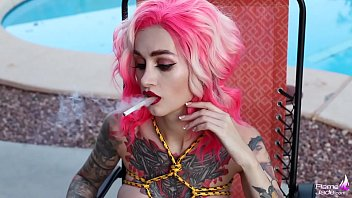 Color-Haired Lesbians Masturbate Pussys Sex Toys near the Pool and Smoking Flame Jade