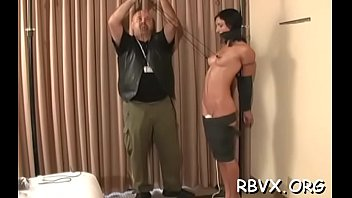Robust tattooed wench gets ball gagged and bounded taut