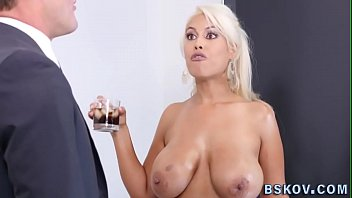Blonde gets big tits spermed over