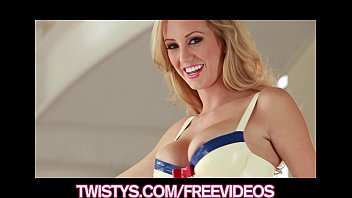 Beautiful blonde Brett Rossi masturbates in her spandex outfit