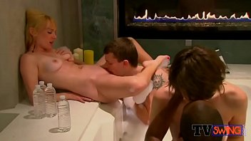 Horny guys get to pleasure two girls