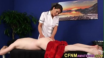 Uniformed masseuse sucks