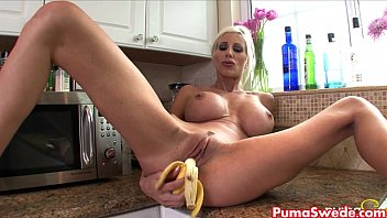 Erotic kitchen videos Puma swede rubs banana all over her