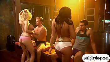 Hot cutie learning stripper pole lessons in Foursome mansion