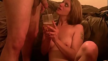 Girl likes to drink a large glass of his warm piss