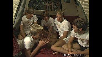 Blond gays - Threeway suck fest in a tent