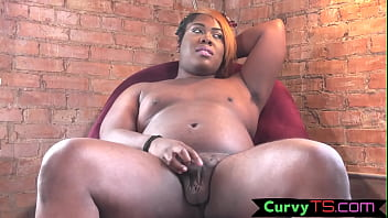 Thicc ebony tgirl plays with her butthole porn thumbnail