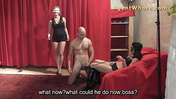 T girl latex - Two masked agent whores play at photoshoot