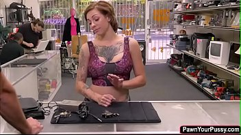 Busty brunette Harlow fucked in pawnshop