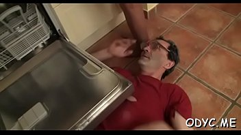 Hot old and juvenile sex with cute babe jerking off old man