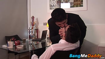 Twink receives facial after barebacking with fat daddy
