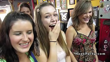 Group of nasty babes parting in tattoo shop porno izle