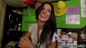 Bartender Alexa Tomas flashes tits and screwed for money