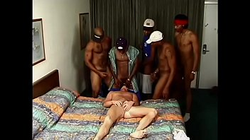 Gorgeous blonde hunk gets gang banged by a group of hot dark skin Latinos