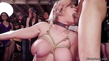 Ebony slave takes anal at bdsm party