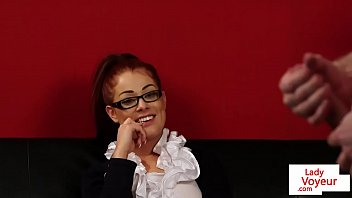 Redhead british voyeur instructing sub to tug