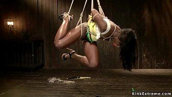 Ebony suffers crotch rope and hogtie