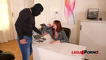 Burglar grabs Lucy Li by her big firm tits & fucks her pink at the office GP344 thumbnail