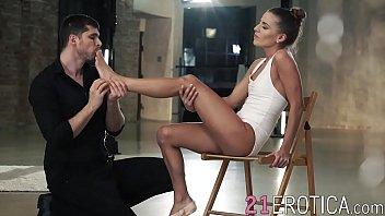 Adorable girl gives sensual footjob before fucking hard