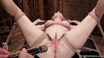 Pierced cunt blonde sub pussy vibrated