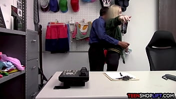 Young blonde thief busted and exploited by a hung mall cop