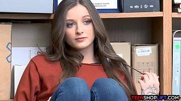 Lingerie shop upscale Blue eyed brunette teen thief got caught by a mall cop
