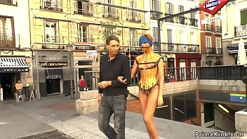 Naked babe in plastic corset public disgraced