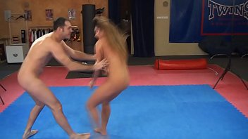 Cathy Heaven vs. James - nude erotic mixed wrestling w blowjob