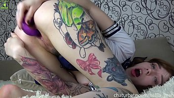 School girl tattoo Hellia Yeah gets cream pie after double dildo