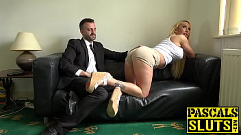 British lady gags on a dick before being choked and smashed