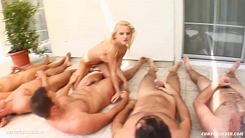 9238 Caroline De Jaie gives many blowjobs for a group to receive bukkake end preview