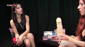 Teenage lesbo tought how to use a massive dildo