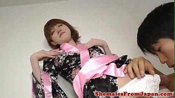 Kimono asian newhalf sucking dick before anal