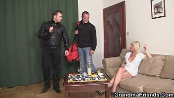 Two Men Bang Sexy Blonde Grandma