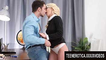 Hot Blonde Teen Secretary Angelika Cristal Helps Her Boss Relax