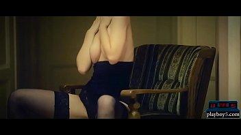 Amazing busty redhead MILF in lingerie hot masturbation