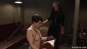 Lesbian nun whipping sinner sister