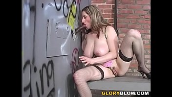 Busty MILF Kitty Lee Sucks Big Black Cock - Gloryhole