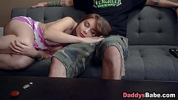 Teen stepdaughter sleeps on dad's lap then gives him a blowjob
