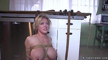 Dude anal fucks tied up busty Milf