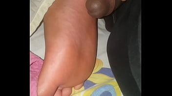 Cum on my sister's feet while she snores
